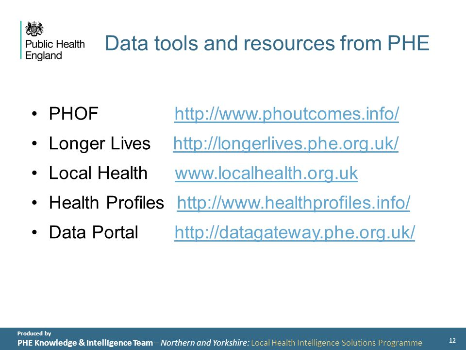 Produced by PHE Knowledge & Intelligence Team – Northern and Yorkshire: Local Health Intelligence Solutions Programme Data tools and resources from PHE PHOF   Longer Lives   Local Health   Health Profiles   Data Portal   12
