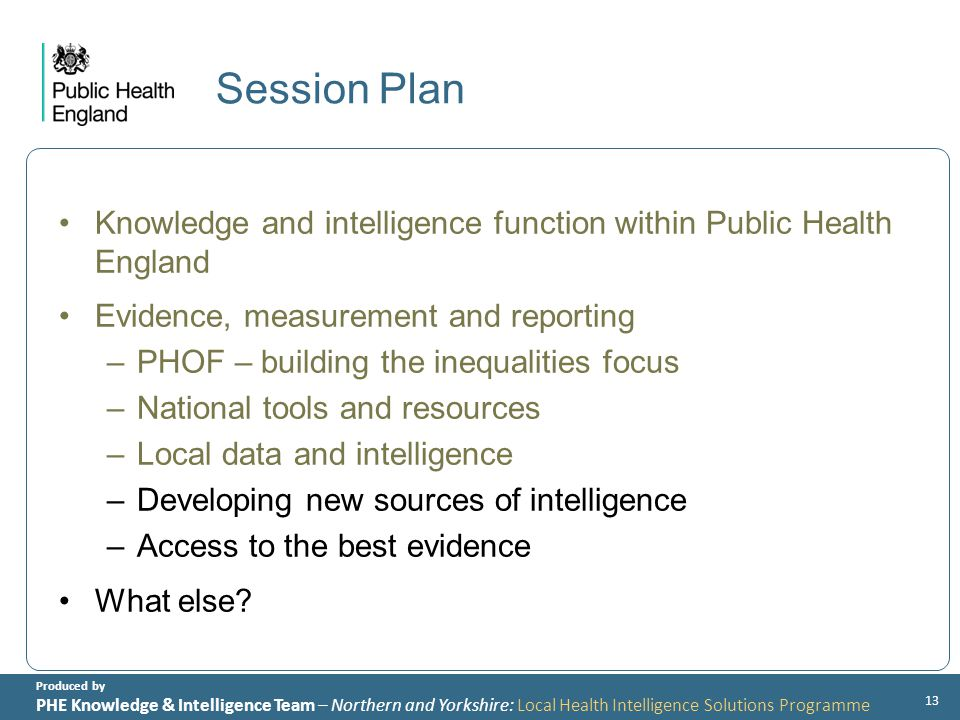 Produced by PHE Knowledge & Intelligence Team – Northern and Yorkshire: Local Health Intelligence Solutions Programme Session Plan Knowledge and intelligence function within Public Health England Evidence, measurement and reporting –PHOF – building the inequalities focus –National tools and resources –Local data and intelligence –Developing new sources of intelligence –Access to the best evidence What else.
