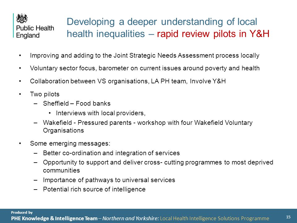 Produced by PHE Knowledge & Intelligence Team – Northern and Yorkshire: Local Health Intelligence Solutions Programme Developing a deeper understanding of local health inequalities – rapid review pilots in Y&H Improving and adding to the Joint Strategic Needs Assessment process locally Voluntary sector focus, barometer on current issues around poverty and health Collaboration between VS organisations, LA PH team, Involve Y&H Two pilots –Sheffield – Food banks Interviews with local providers, –Wakefield - Pressured parents - workshop with four Wakefield Voluntary Organisations Some emerging messages: –Better co-ordination and integration of services –Opportunity to support and deliver cross- cutting programmes to most deprived communities –Importance of pathways to universal services –Potential rich source of intelligence 15