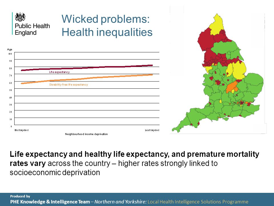 Produced by PHE Knowledge & Intelligence Team – Northern and Yorkshire: Local Health Intelligence Solutions Programme Wicked problems: Health inequalities Life expectancy and healthy life expectancy, and premature mortality rates vary across the country – higher rates strongly linked to socioeconomic deprivation