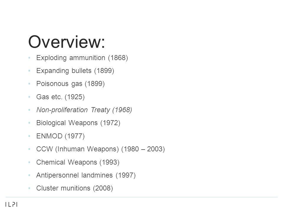 Overview: Exploding ammunition (1868) Expanding bullets (1899) Poisonous gas (1899) Gas etc.