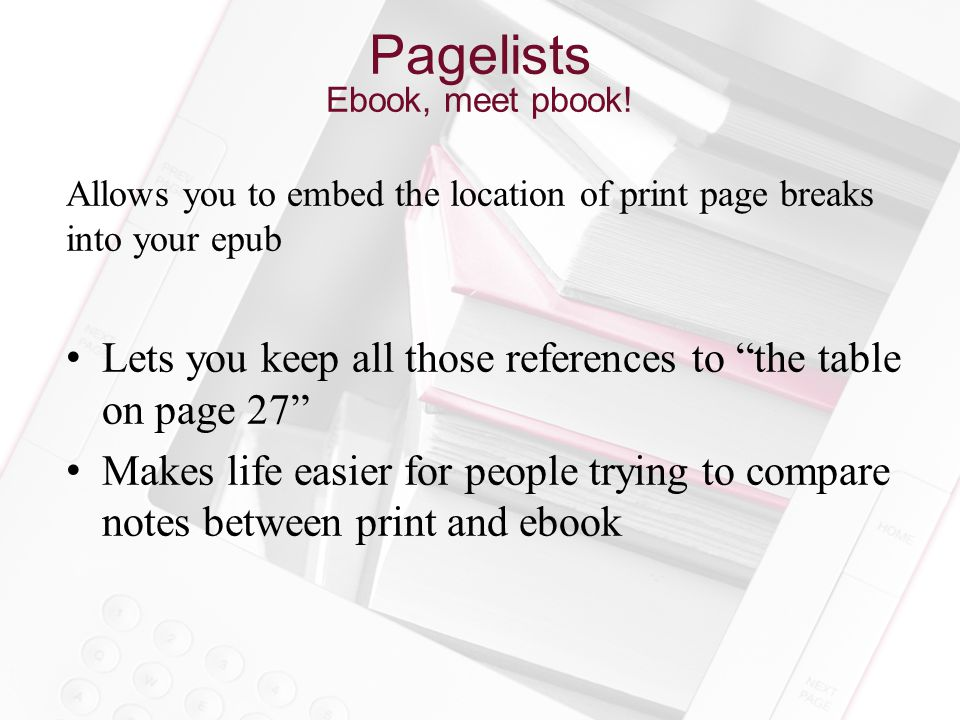 Pagelists Ebook, meet pbook.