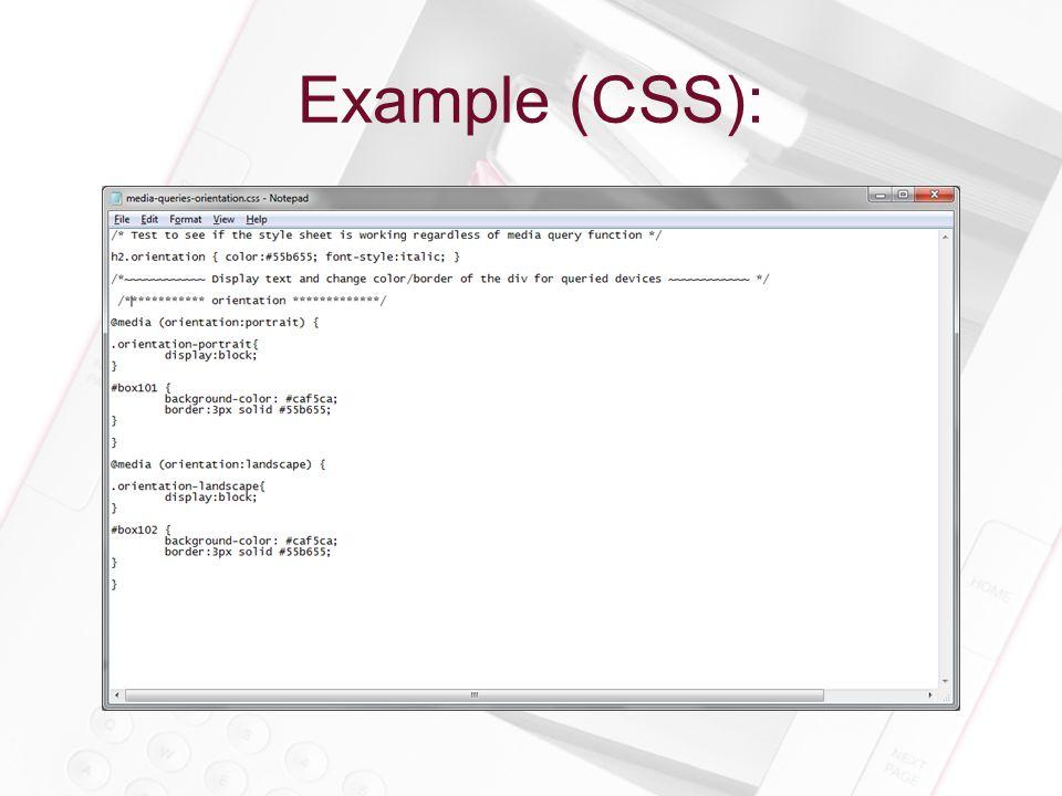 Example (CSS):