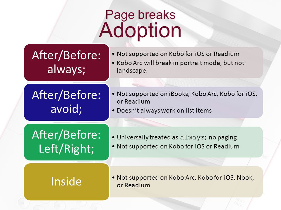 Page breaks Adoption Not supported on Kobo for iOS or Readium Kobo Arc will break in portrait mode, but not landscape. After/Before: always; Not suppo