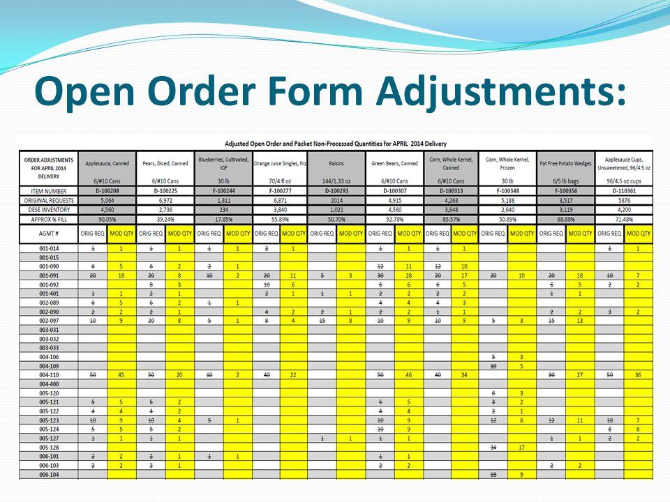 Open Order Form Adjustments: