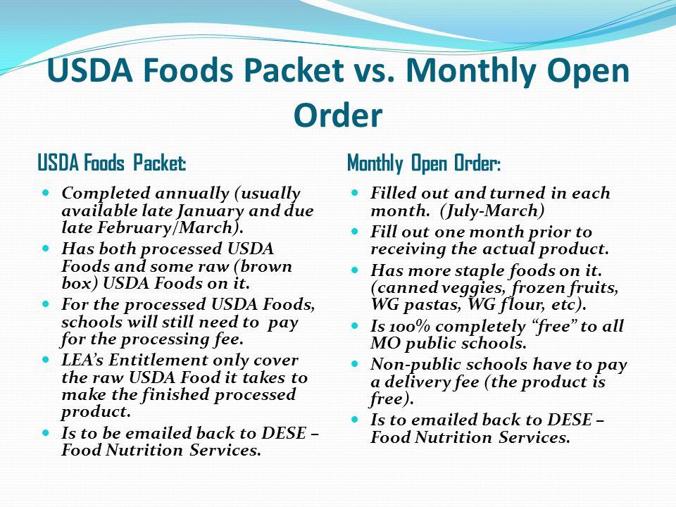 USDA Foods Packet vs.