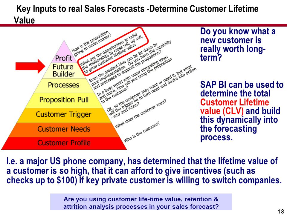 18 Key Inputs to real Sales Forecasts -Determine Customer Lifetime Value Are you using customer life-time value, retention & attrition analysis proces