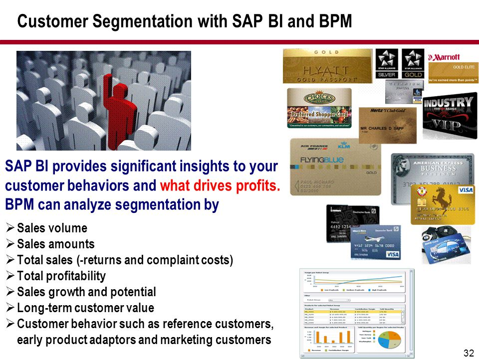 32 Customer Segmentation with SAP BI and BPM SAP BI provides significant insights to your customer behaviors and what drives profits. BPM can analyze