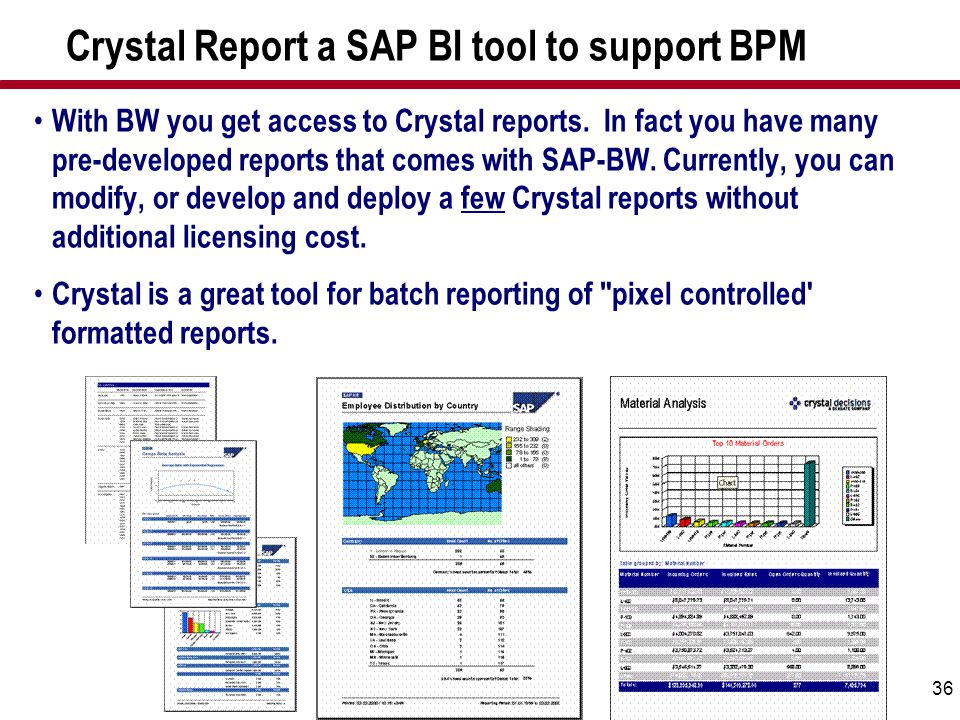 36 Crystal Report a SAP BI tool to support BPM With BW you get access to Crystal reports. In fact you have many pre-developed reports that comes with