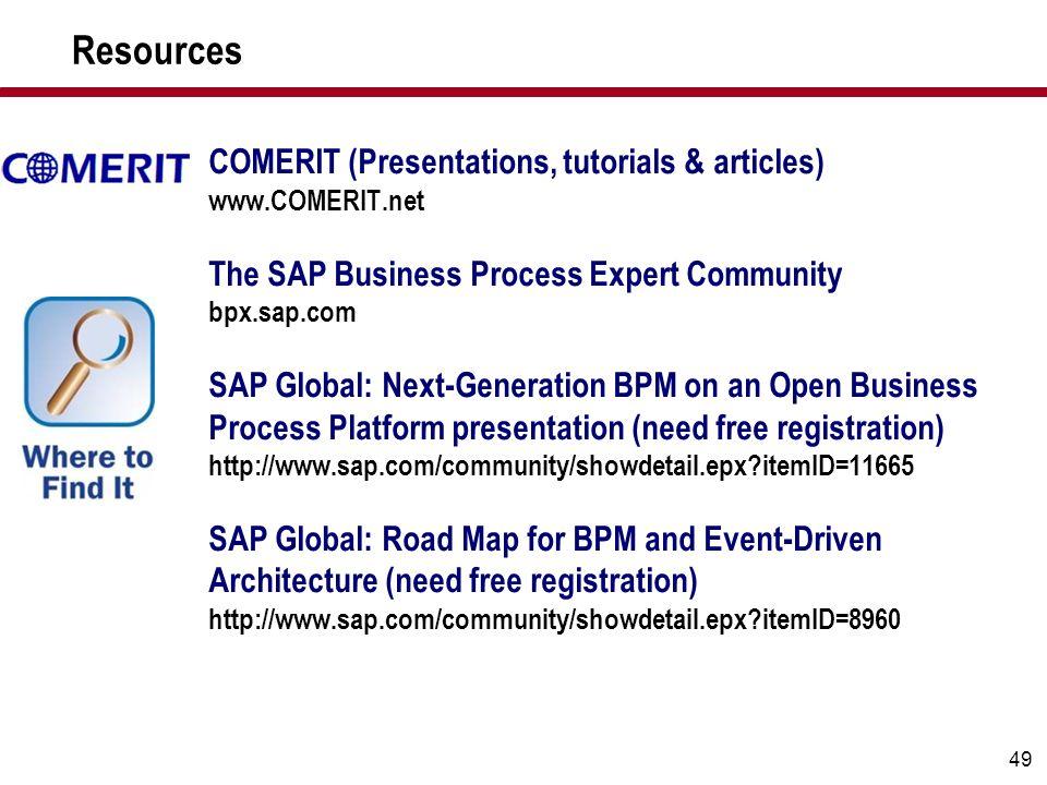 49 COMERIT (Presentations, tutorials & articles) www.COMERIT.net The SAP Business Process Expert Community bpx.sap.com SAP Global: Next-Generation BPM