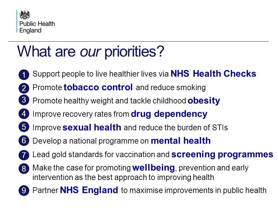 Support people to live healthier lives via NHS Health Checks Promote tobacco control and reduce smoking Promote healthy weight and tackle childhood ob