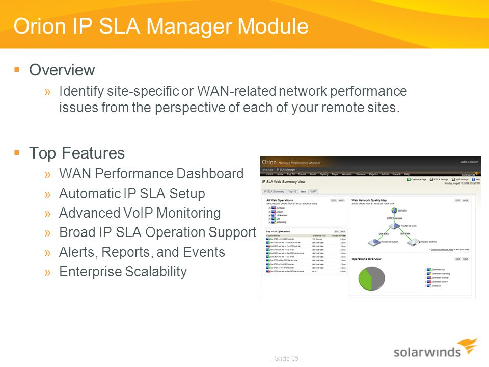 - Slide 65 - Orion IP SLA Manager Module  Overview »Identify site-specific or WAN-related network performance issues from the perspective of each of