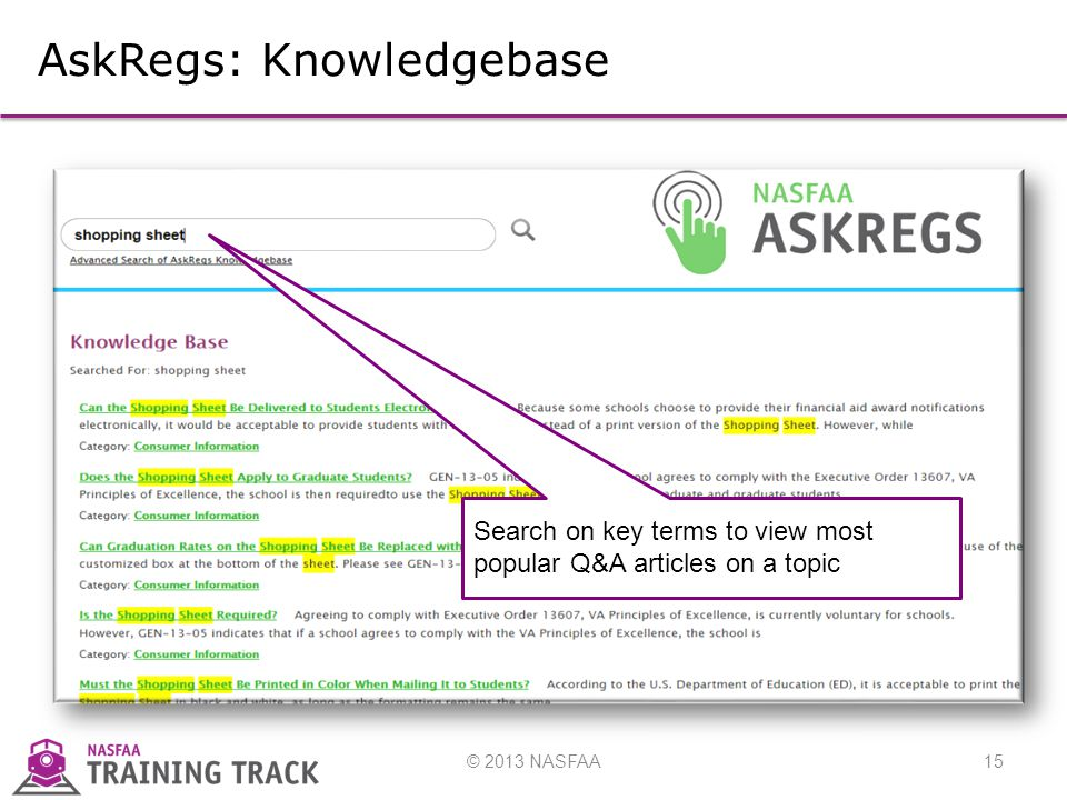 © 2013 NASFAA15 AskRegs: Knowledgebase Search on key terms to view most popular Q&A articles on a topic