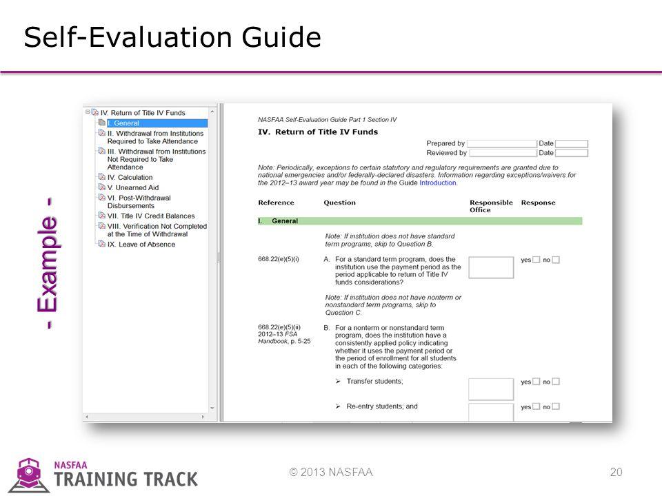 © 2013 NASFAA20 Self-Evaluation Guide - Example -