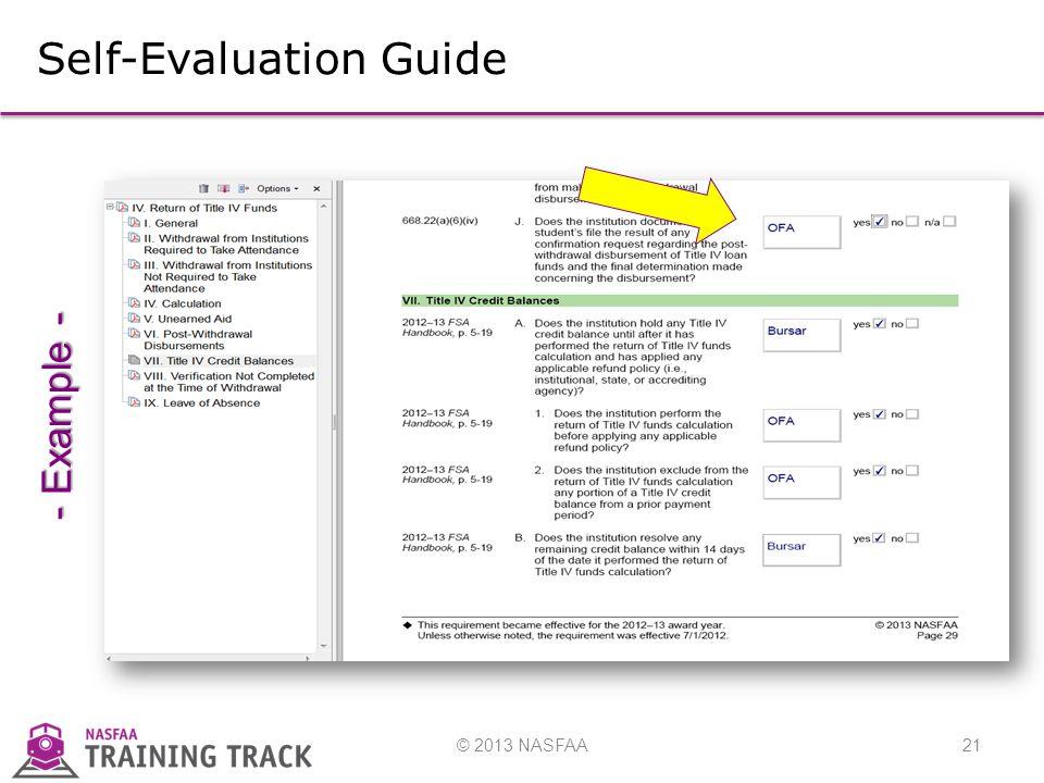© 2013 NASFAA21 Self-Evaluation Guide - Example -