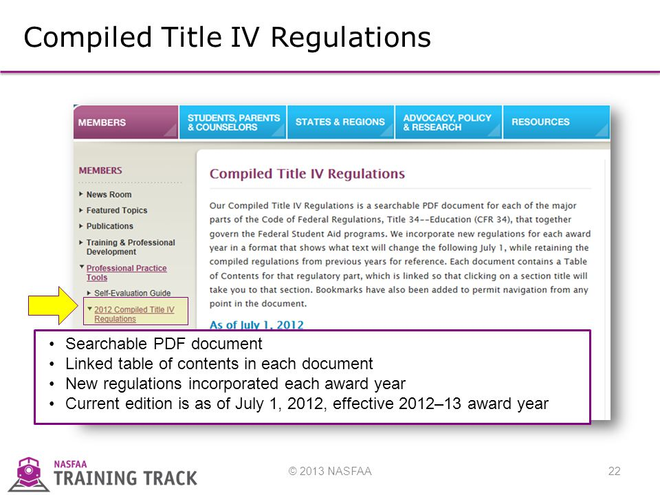 © 2013 NASFAA22 Compiled Title IV Regulations Searchable PDF document Linked table of contents in each document New regulations incorporated each award year Current edition is as of July 1, 2012, effective 2012–13 award year
