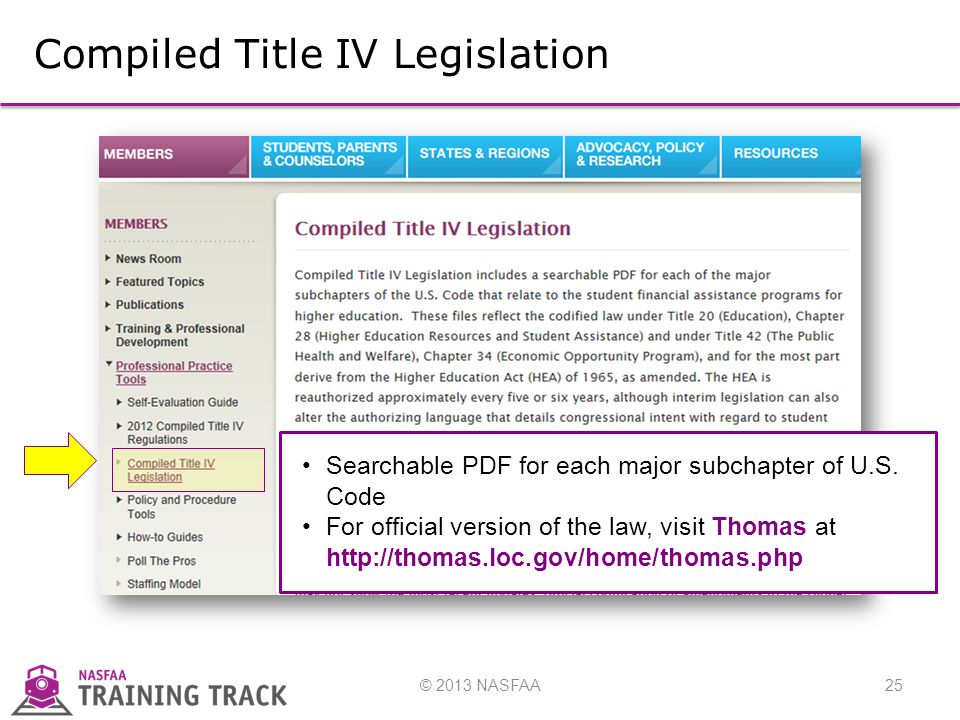 © 2013 NASFAA25 Compiled Title IV Legislation Searchable PDF for each major subchapter of U.S.