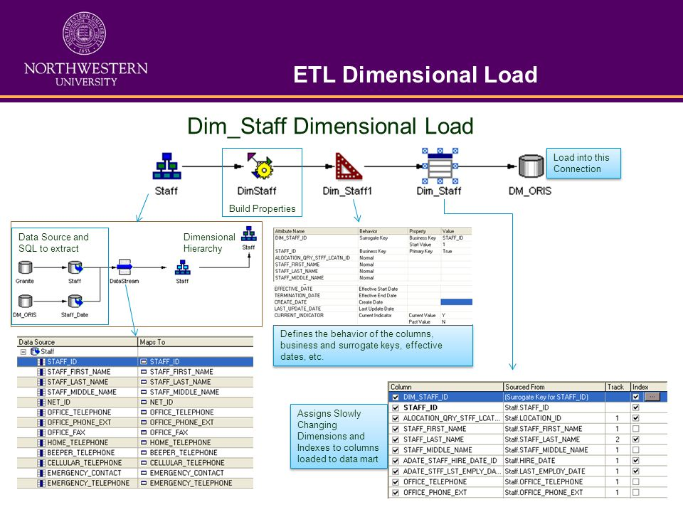 ETL Dimensional Load Dim_Staff Dimensional Load Data Source and SQL to extract Dimensional Hierarchy Build Properties Defines the behavior of the colu