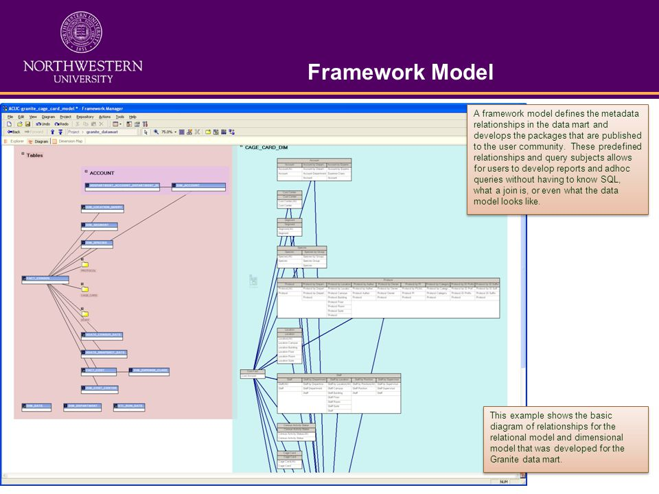 Framework Model A framework model defines the metadata relationships in the data mart and develops the packages that are published to the user communi