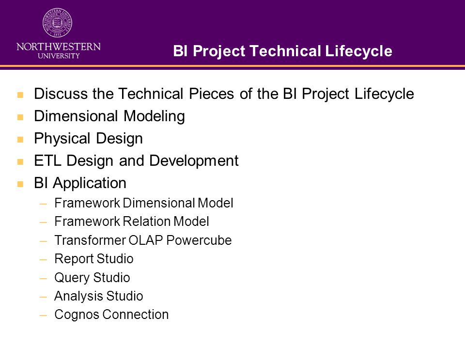 BI Project Technical Lifecycle Discuss the Technical Pieces of the BI Project Lifecycle Dimensional Modeling Physical Design ETL Design and Developmen