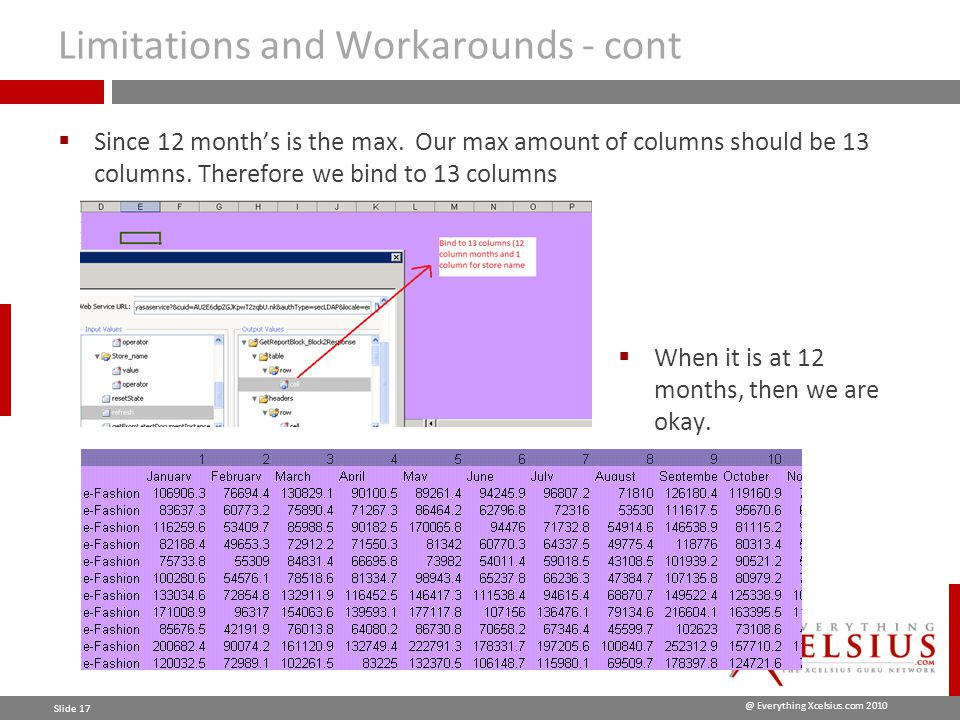 @ Everything Xcelsius.com 2010 Slide 17 Limitations and Workarounds - cont  Since 12 month's is the max.