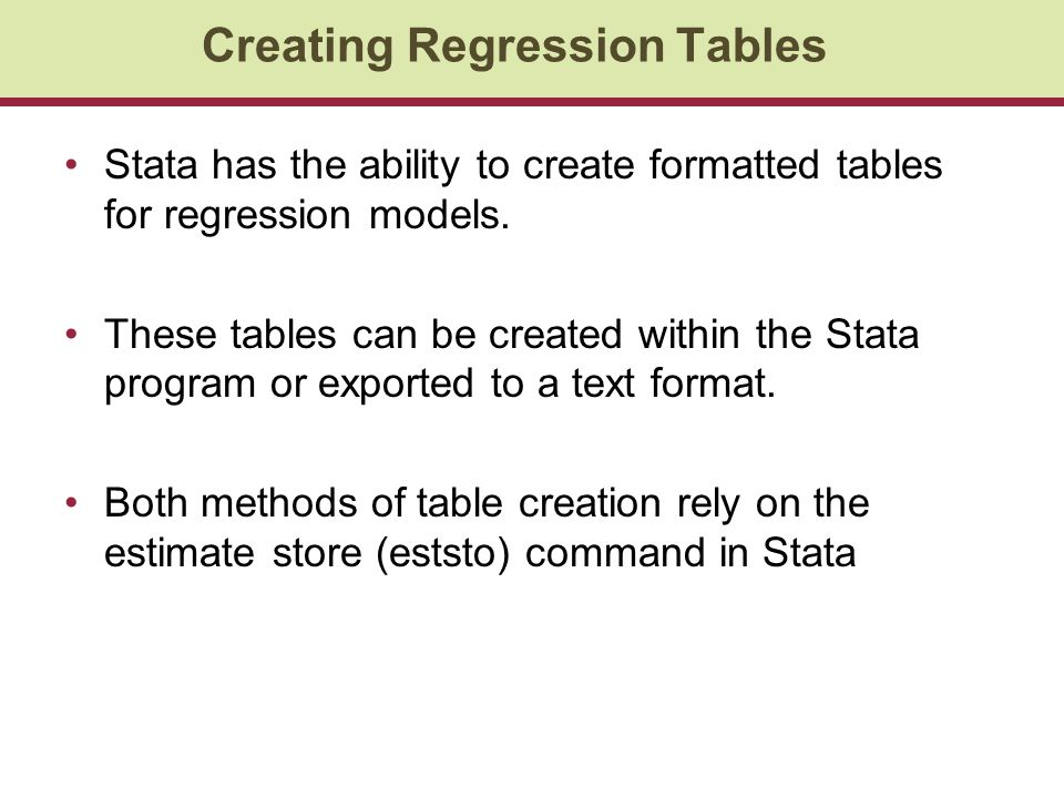 Stata has the ability to create formatted tables for regression models.