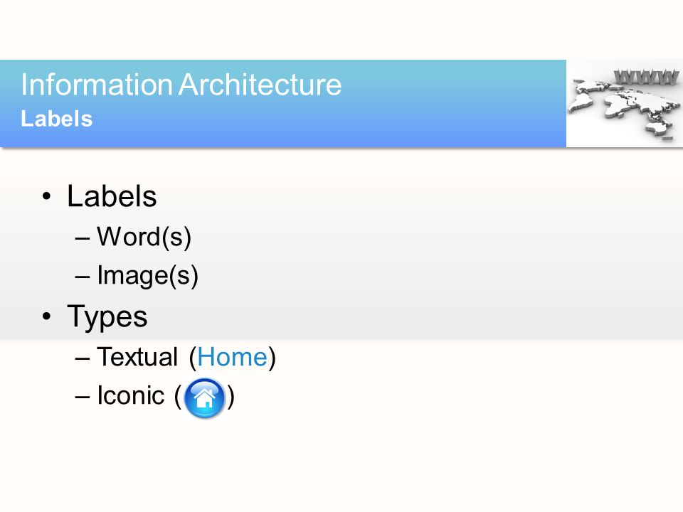 Labels –Word(s) –Image(s) Types –Textual (Home) –Iconic ( ) Information Architecture Labels