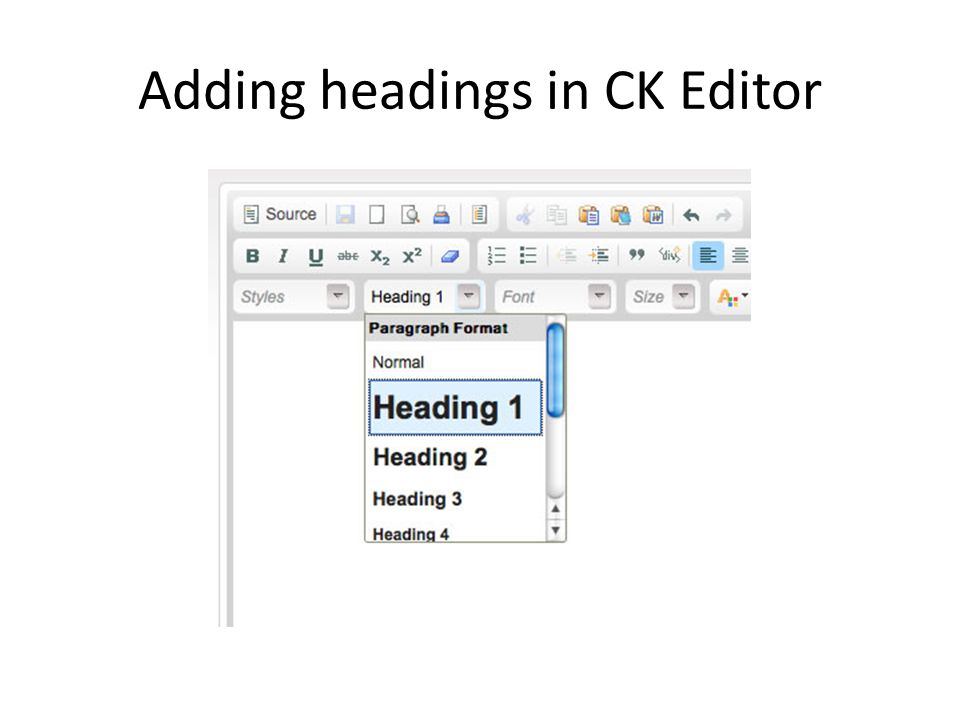 Adding headings in CK Editor