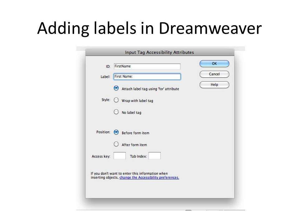 Adding labels in Dreamweaver