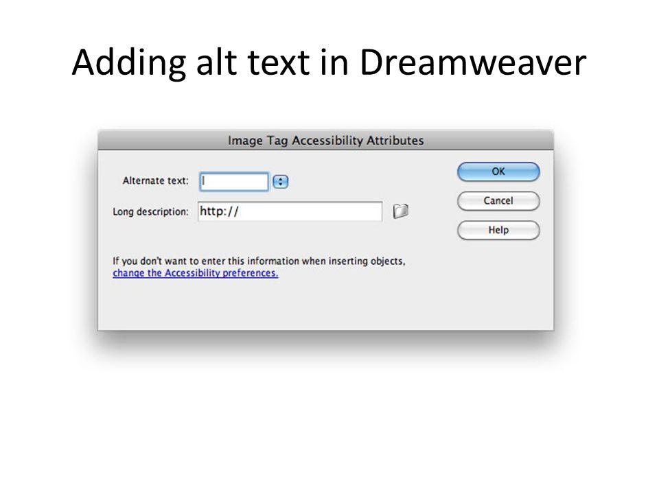 Adding alt text in Dreamweaver