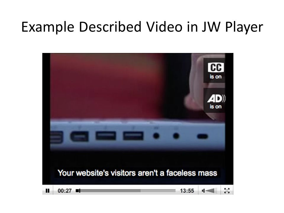 Example Described Video in JW Player
