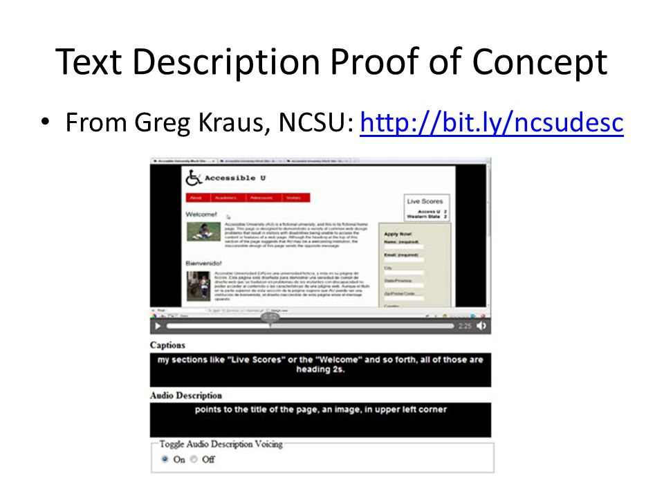 Text Description Proof of Concept From Greg Kraus, NCSU: http://bit.ly/ncsudeschttp://bit.ly/ncsudesc