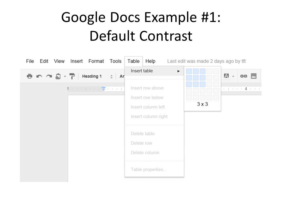 Google Docs Example #1: Default Contrast