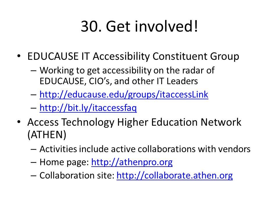 30. Get involved.
