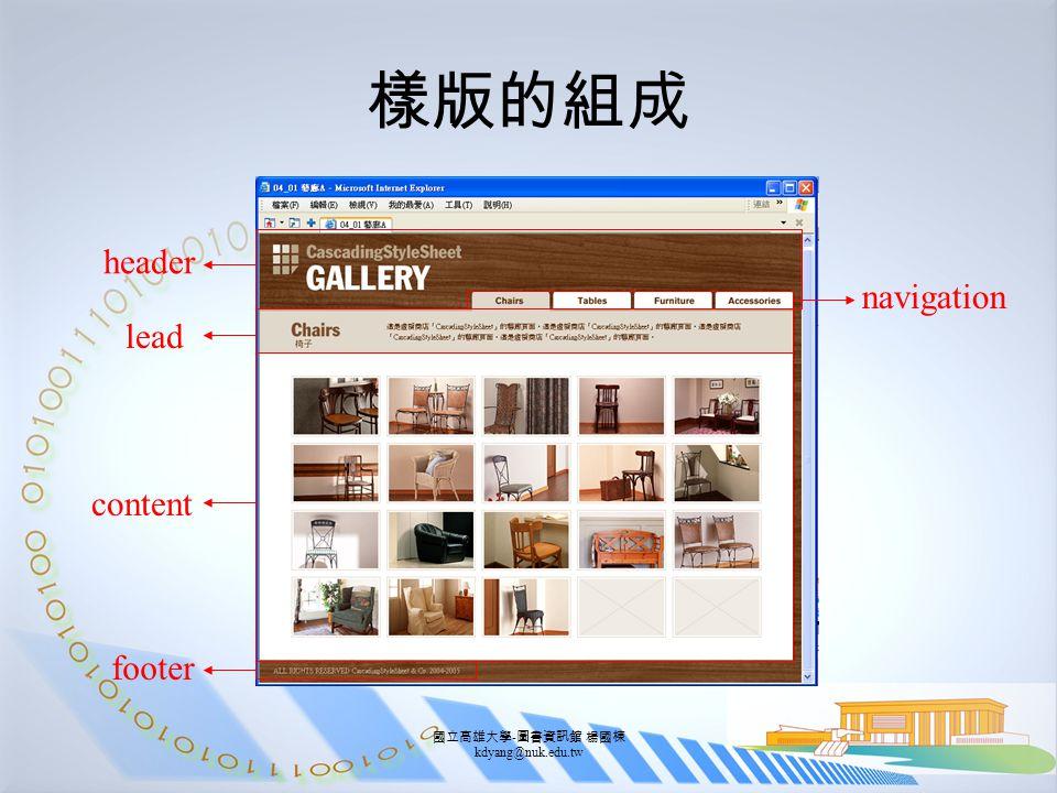 國立高雄大學 - 圖書資訊館 楊國棟 kdyang@nuk.edu.tw 樣版的組成 header lead content footer navigation