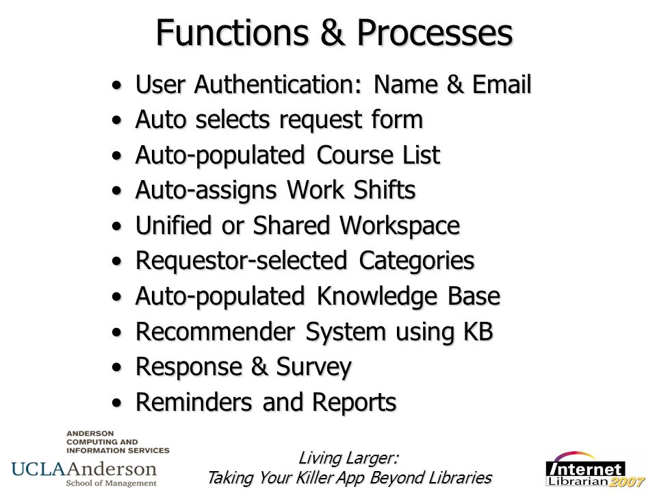 Living Larger: Taking Your Killer App Beyond Libraries Functions & Processes User Authentication: Name & EmailUser Authentication: Name & Email Auto selects request formAuto selects request form Auto-populated Course ListAuto-populated Course List Auto-assigns Work ShiftsAuto-assigns Work Shifts Unified or Shared WorkspaceUnified or Shared Workspace Requestor-selected CategoriesRequestor-selected Categories Auto-populated Knowledge BaseAuto-populated Knowledge Base Recommender System using KBRecommender System using KB Response & SurveyResponse & Survey Reminders and ReportsReminders and Reports