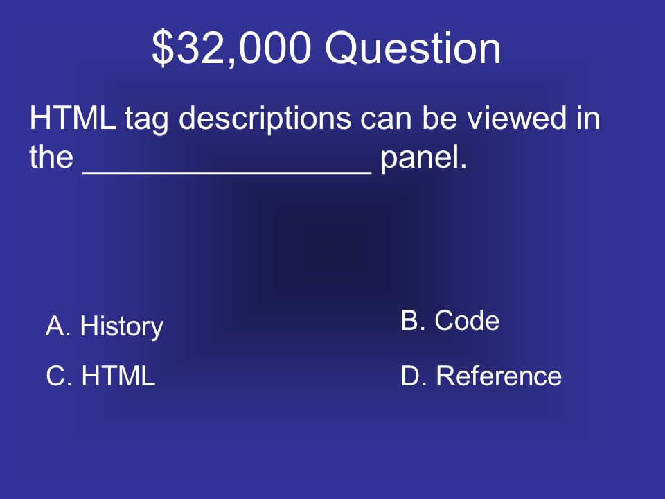 $32,000 Question HTML tag descriptions can be viewed in the ________________ panel.