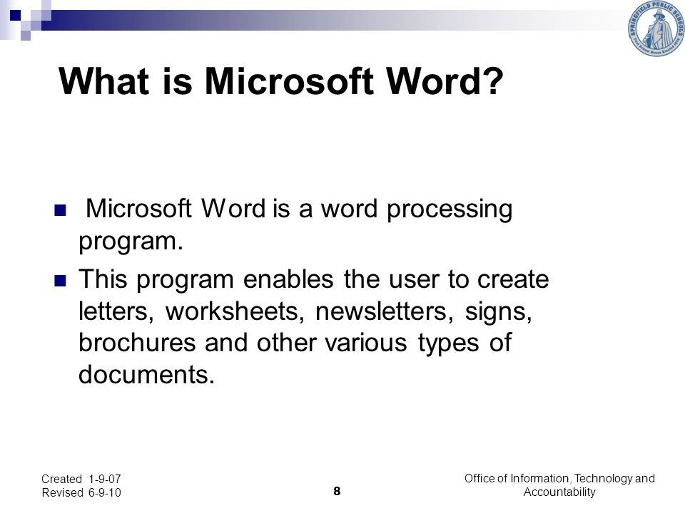 Microsoft Word - Intermediate Users: Office of Information, Technology and Accountability 9 Created 1-9-07 Revised 6-9-10 -To add tabs, click on the Page Layout Tab, then Click on Paragraph.
