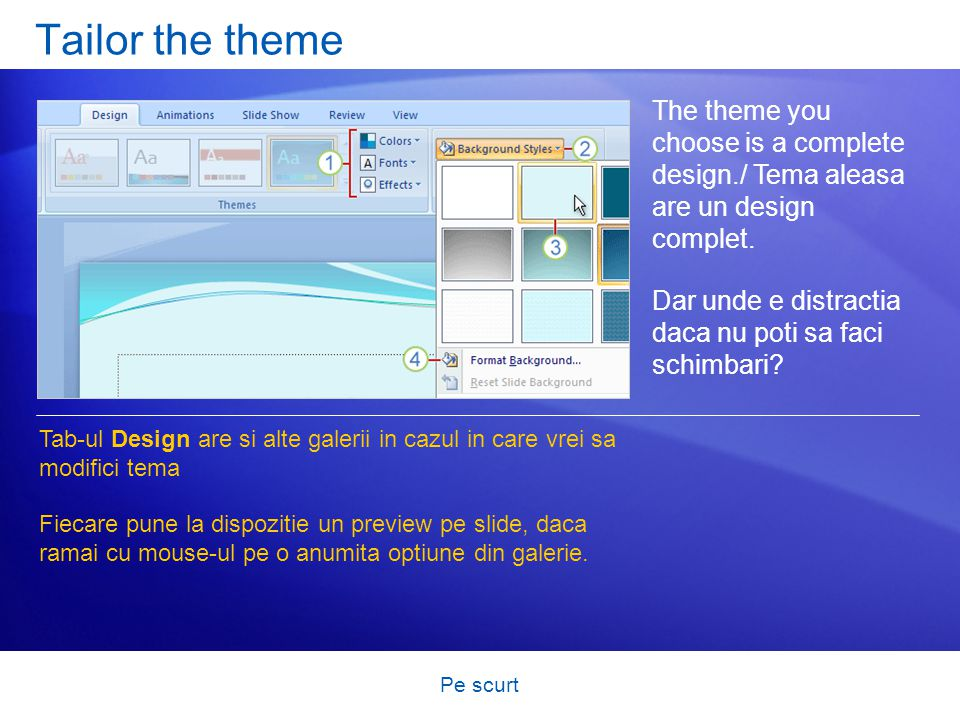 Pe scurt Tailor the theme The theme you choose is a complete design./ Tema aleasa are un design complet. Dar unde e distractia daca nu poti sa faci sc