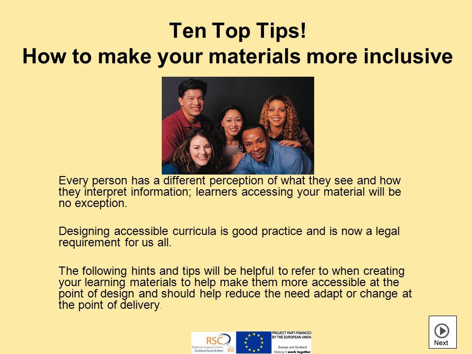 Ten Top Tips.