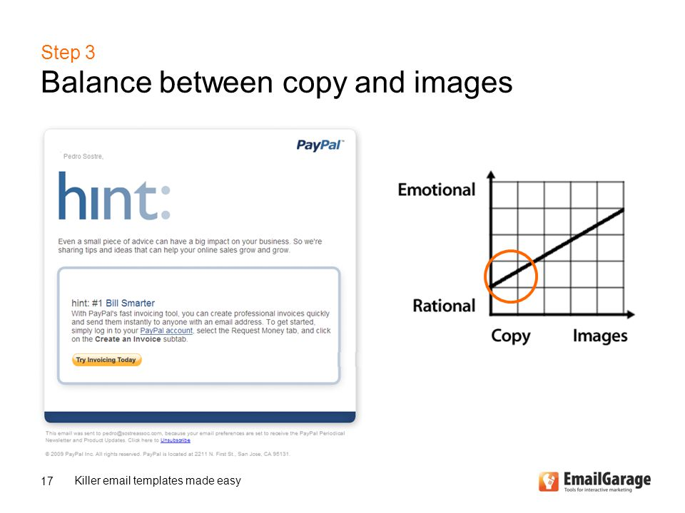 Step 3 Balance between copy and images 17 Killer email templates made easy