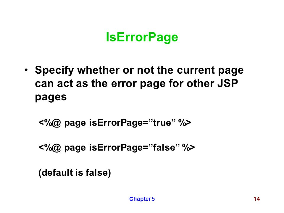 Chapter 514 IsErrorPage Specify whether or not the current page can act as the error page for other JSP pages (default is false)