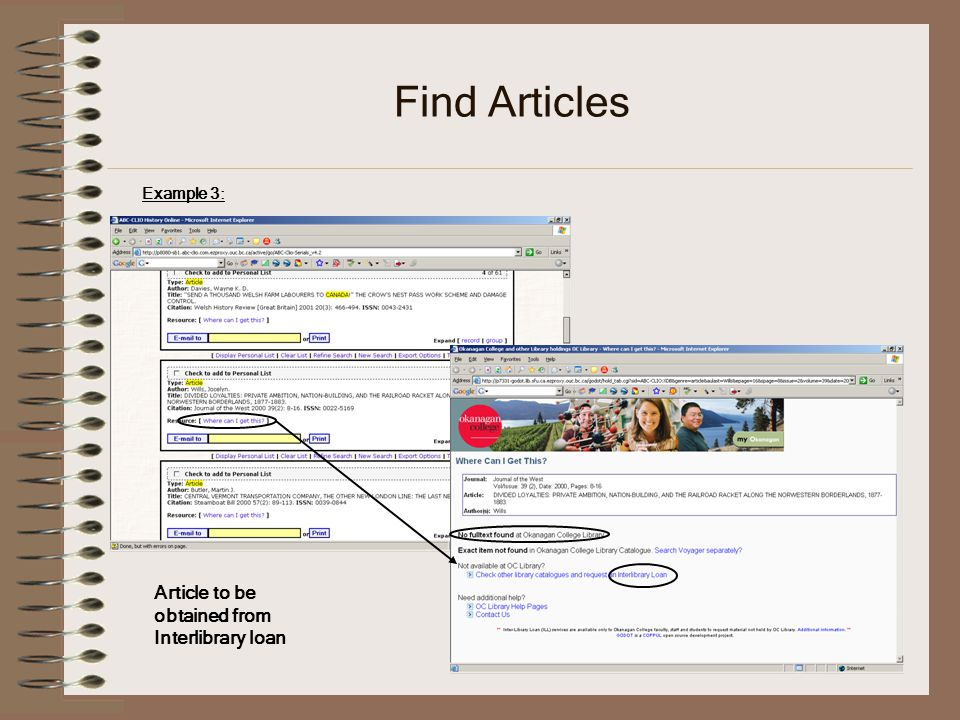Find Articles Example 3: Article to be obtained from Interlibrary loan