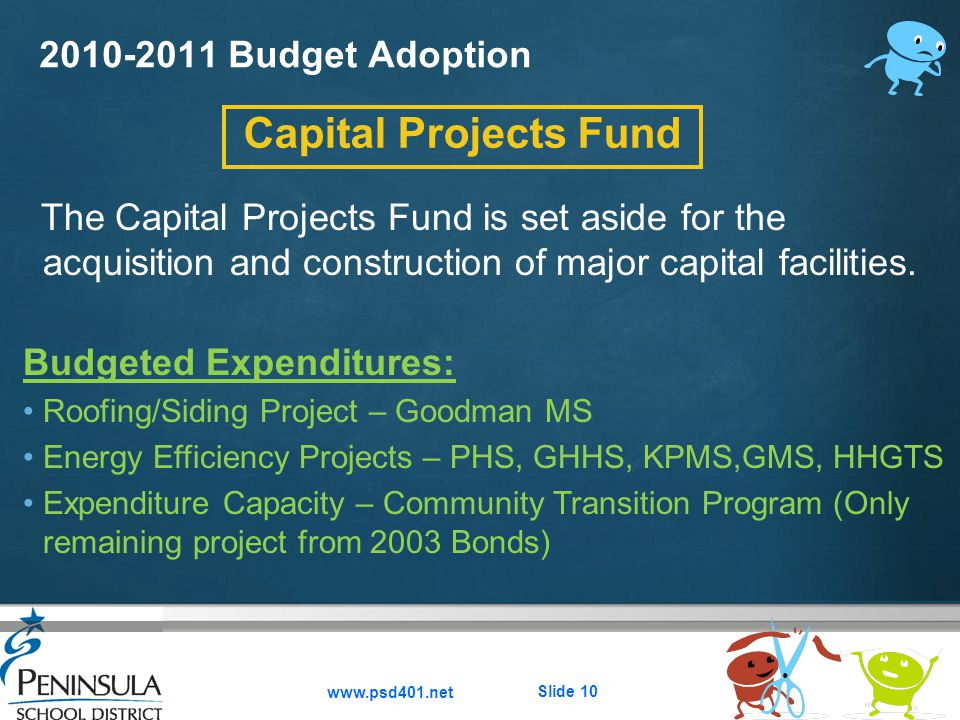 Here comes your footer  Page 10 2010-2011 Budget Adoption www.psd401.net Slide 10 Capital Projects Fund The Capital Projects Fund is set aside for the acquisition and construction of major capital facilities.