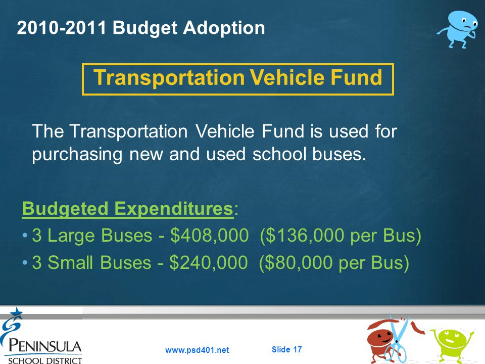 Here comes your footer  Page 17 2010-2011 Budget Adoption www.psd401.net Slide 17 The Transportation Vehicle Fund is used for purchasing new and used