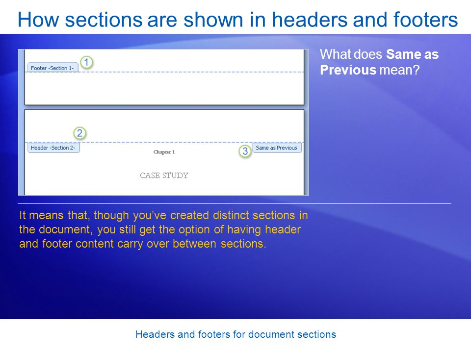 Headers and footers for document sections How sections are shown in headers and footers What does Same as Previous mean.