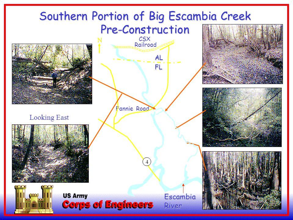 5 Looking West EscambiaRiver Southern Portion of Big Escambia Creek Pre-Construction Looking East 4 AL FL CSX Railroad Fannie RoadN