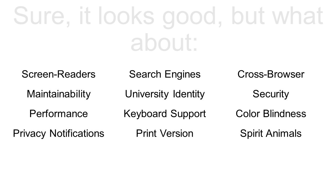 Sure, it looks good, but what about: Screen-ReadersSearch EnginesCross-Browser MaintainabilityUniversity IdentitySecurity PerformanceKeyboard SupportColor Blindness Privacy NotificationsPrint VersionSpirit Animals