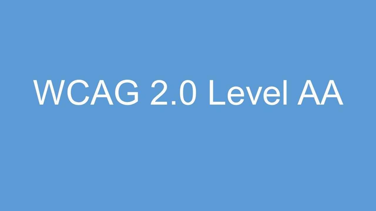 WCAG 2.0 Level AA