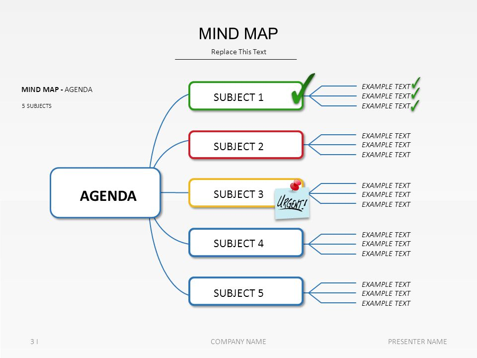 MIND MAP - AGENDA 5 SUBJECTS AGENDA SUBJECT 1 SUBJECT 2 SUBJECT 3 SUBJECT 4 SUBJECT 5 EXAMPLE TEXT Replace This Text 3 I MIND MAP PRESENTER NAMECOMPAN